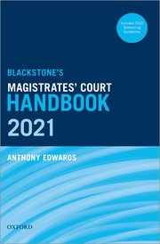 Cover for   Blackstones Magistrates Court Handbook 2021