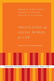 Cover for   Translating the Social World for Law