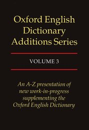 Cover for   Oxford English Dictionary Additions Series, Volume III