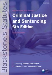 Cover for   Blackstones Statutes on Criminal Justice & Sentencing