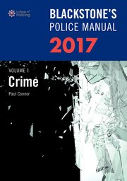 Cover for   Blackstones Police Manual Volume 1: Crime 2017