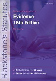 Cover for   Blackstones Statutes on Evidence
