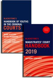 Cover for   Blackstones Magistrates Court Handbook and Blackstones Youths in the Criminal Courts Pack