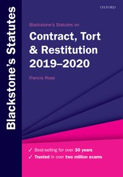 Cover for   Blackstones Statutes on Contract, Tort & Restitution 2019-2020