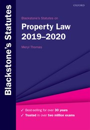 Cover for   Blackstones Statutes on Property Law 2019-2020