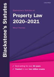 Cover for   Blackstones Statutes on Property Law 2020-2021