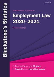Cover for   Blackstones Statutes on Employment Law 2020-2021