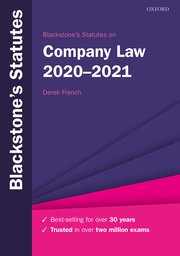 Cover for   Blackstones Statutes on Company Law 2020-2021