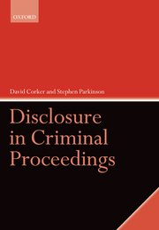 Cover for   Disclosure in Criminal Proceedings