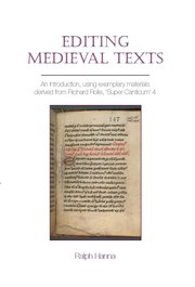 Cover for   Editing Medieval Texts
