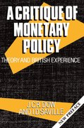 Cover for A Critique of Monetary Policy
