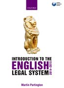 Cover for Introduction to the English Legal System 2014-2015