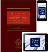 Cover for Redfern and Hunter on International Arbitration (Hardcover, eBook, and iOS App)
