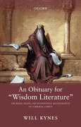 "Cover for An Obituary for ""Wisdom Literature"""