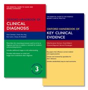 Cover for Oxford Handbook of Clinical Diagnosis 3e and Oxford Handbook of Key Clinical Evidence