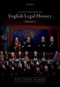 Cover for Introduction to English Legal History