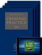 Cover for Blackstone's Criminal Practice 2020 (Book, All Supplements, and Digital Pack) - 9780198849254