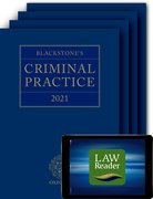 Cover for Blackstone's Criminal Practice 2021 (Book, All Supplements, and Digital Pack) - 9780198867265