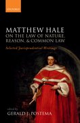 Cover for Matthew Hale: On the Law of Nature, Reason, and Common Law