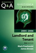 Cover for Questions & Answers: Landlord and Tenant 2005-2006
