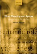 Cover for Word Meaning and Syntax