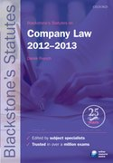 Blackstone's Statutes on Company Law 2012-2013