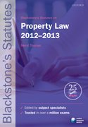 Blackstone's Statutes on Property Law 2012-2013