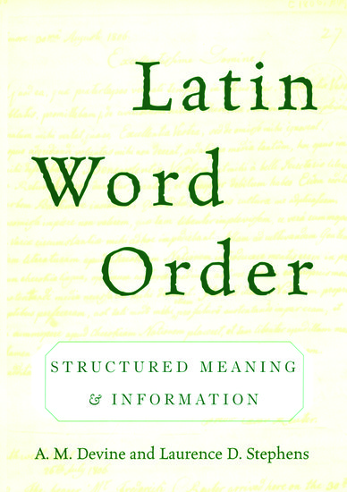 latin word order - a  m  devine  laurence d  stephens