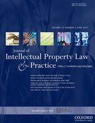 Cover for Journal of Intellectual Property Law & Practice