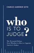 Cover for Who is to Judge? - 9780190887148
