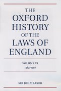 Cover for The Oxford History of the Laws of England Volume VI