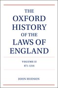 Cover for The Oxford History of the Laws of England Volume II