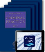 Cover for Blackstone's Criminal Practice 2017 (book, all supplements, and digital pack) - 9780198794066