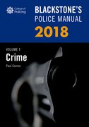 Cover for Blackstone's Police Manual Volume 1: Crime 2018 - 9780198806103
