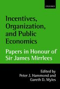 Cover for Incentives, Organization, and Public Economics