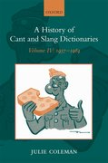 Cover for A History of Cant and Slang Dictionaries