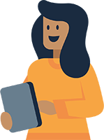 woman with device icon