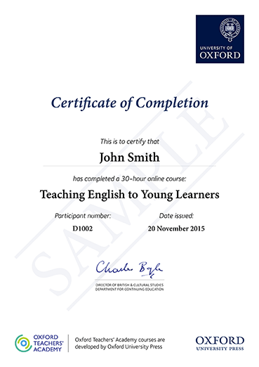 Certificate sample